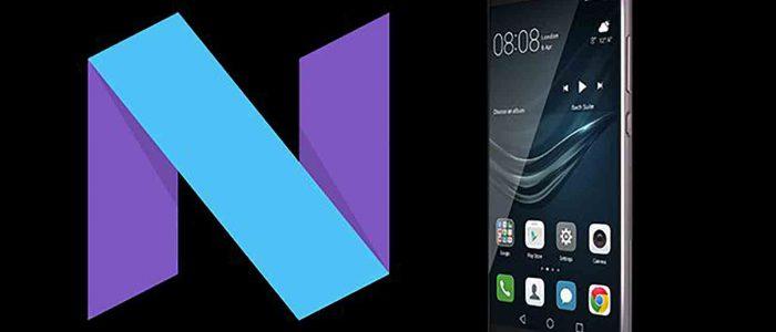 Simbolo dell'aggiornamento Android 7.0 Nougat e e Huawei P9