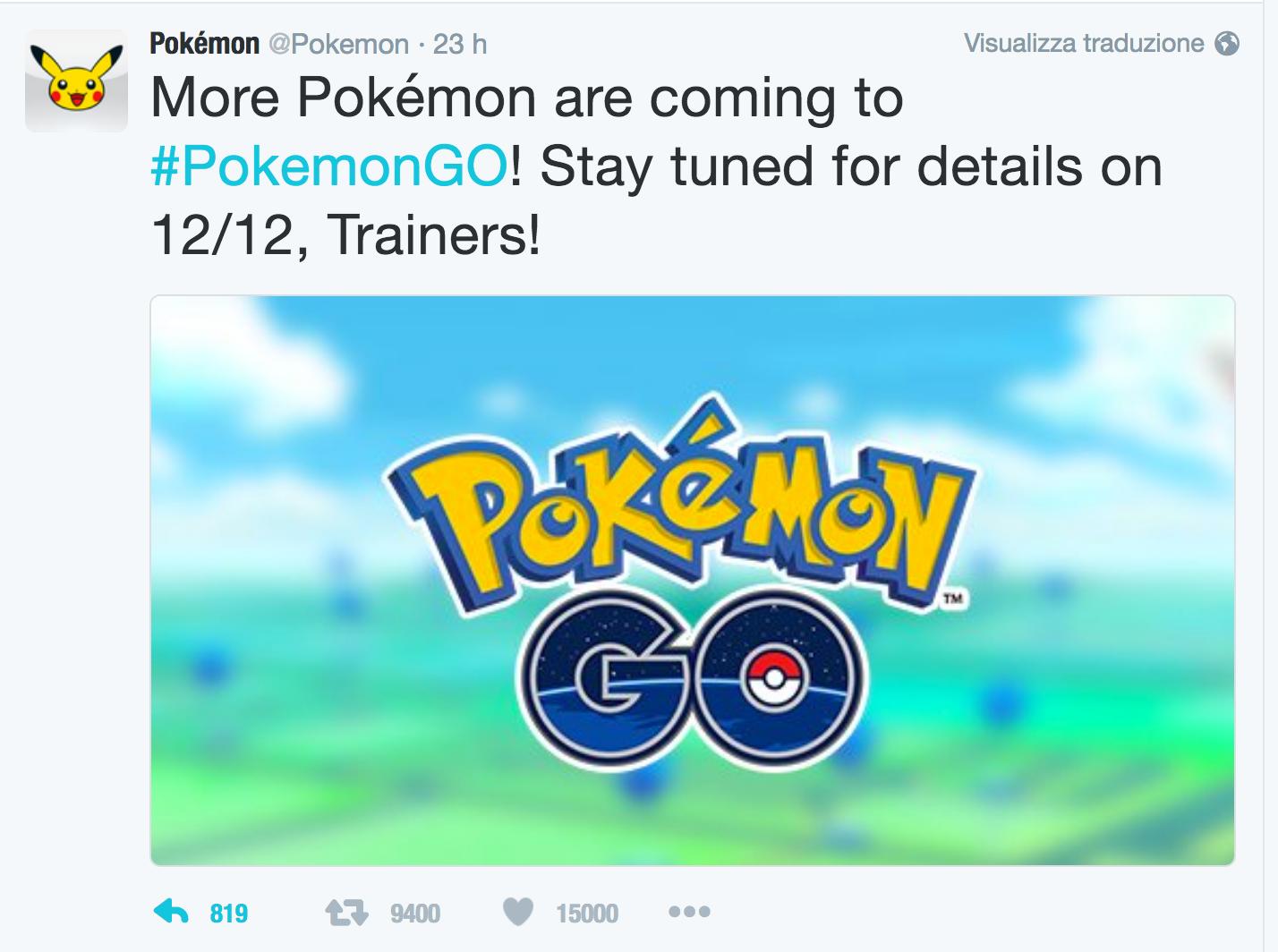 Nuovi Pokémon in arrivo