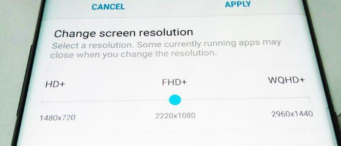 Galaxy S8 opzione per diminuire risoluzione