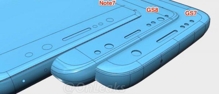 Galaxy S8 vs S7 vs Note 7 dimensioni