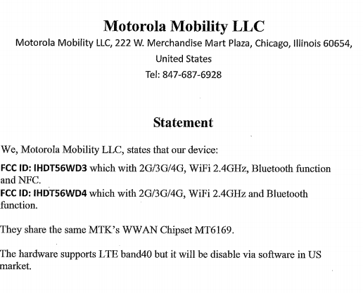 Moto E4 e Moto E4 Plus FCC