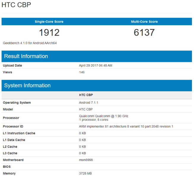 Htc U11 geekbench